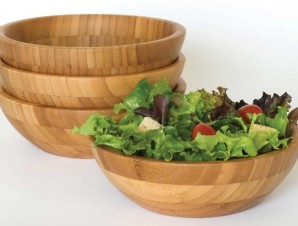Set of 4 Bamboo Salad Bowls by Lipper - stacksandstacks.com