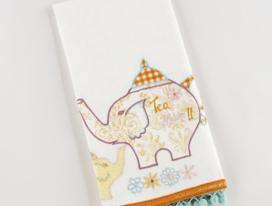 Elephant Tea Towel with Pom Poms - worldmarket.com